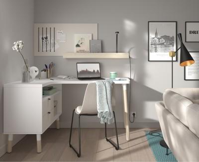 L-förmiger Schreibtisch mit 2 Schubladen