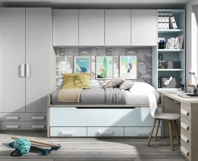Jugendzimmer bestehend aus Bettgestell mit Auziehbett, Schreibtisch und Brückenschrank