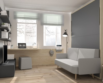 Schlafzimmer mit ausziehbarem Bett