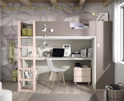 Jugendzimmer bestehend aus Etagenbett, Kleiderschrank und Schreibtisch