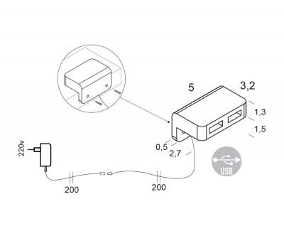 Doppelter USB-Anschluß mit rückseitiger Befestigung