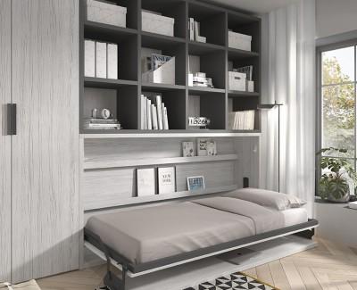 Klappbett mit Schreibtisch und Regalen