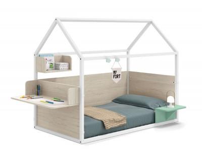 lackiertes beplanktes Kinderhaus  mit Schreibtisch, Nachttisch und Würfel