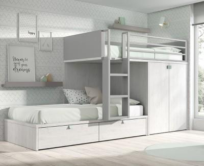 Etagenbett mit Kleiderschrank und 2 Schubladen
