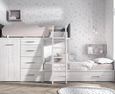 Etagenbett mit Ausziehbett, abnehmbarem Kleiderschrank und 4 Schubladen