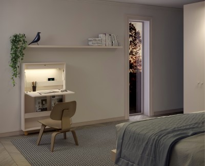 Faltbarer Wandschreibtisch mit LED-Licht, USB-Anschluss, Steckdose und Zeitschriftenständer