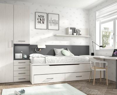Kleiderschrank mit Nachttisch und 1-türigem Schrank