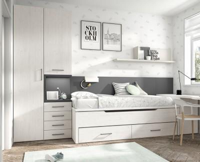 Schreibtisch mit abnehmbaren Möbelstücken und Regalen