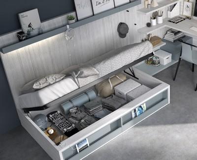 Jugendzimmer mit Kompaktbett, Eckschrank und Klapptisch