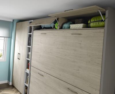 Jugendzimmer bestehend aus Etagenklappbett, Kleiderschrank, Regalen und Schreibtisch