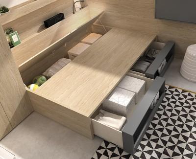 Kompaktbett mit Kommode und 2 Schubladenregalen