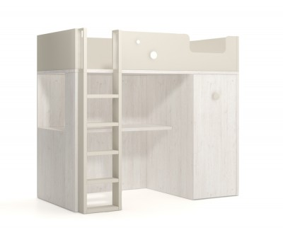 Schreibtisch für Kinderzimmer mit offenem Hilfselement an der Seite, um alle Schulsachen unterzubringen. Geräumige Oberflache.