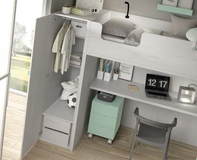 Etagenbett mit Schreibtisch