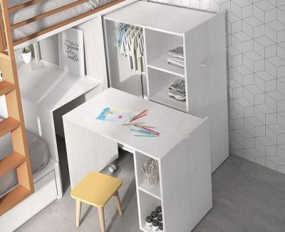 Etagenbett mit Schreibtisch und abnehmbarem Schrank