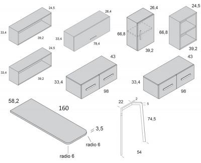 Schreibtisch mit 4 Schubladen und Regalen